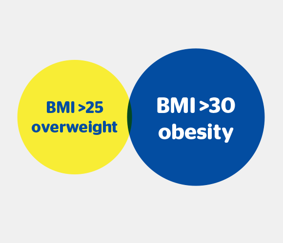 BMI > 25 Overweight, BMI > 30 Obesity