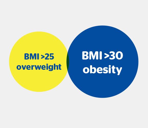 BMI 25 Overweight, BMI 30 Obesity