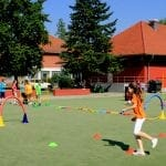 School children exercising with the Polygon sports equipment