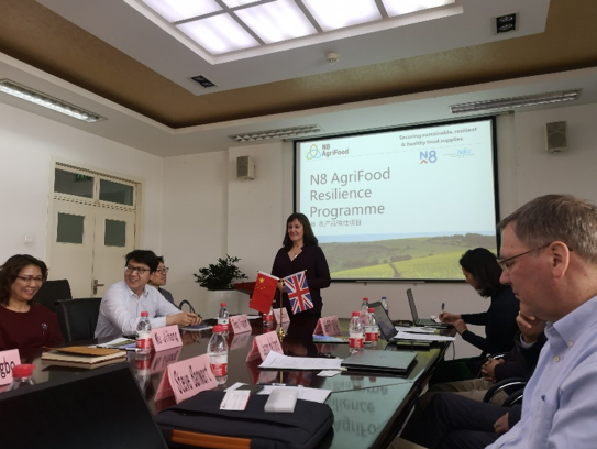 Prof Louise Dye from University of Leeds and N8 AgriFood presenting to colleagues at the Chinese Agriculture University in Beijing